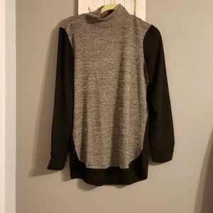 Loft Mixed Media Mock Turtleneck Top Size M